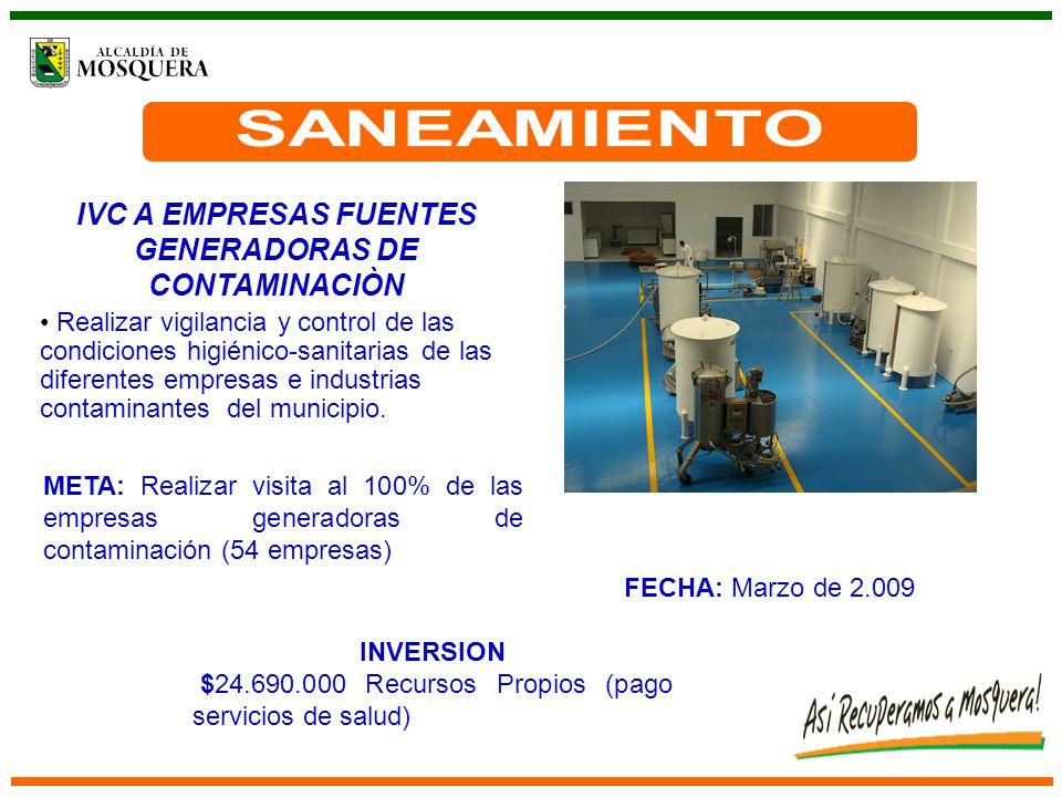 IVC A EMPRESAS FUENTES GENERADORAS DE CONTAMINACIÒN Realizar vigilancia y control de las condiciones higiénico-sanitarias de las diferentes empresas e industrias contaminantes del municipio.