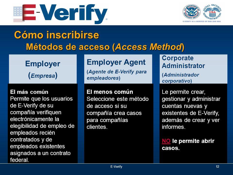 E-Verify12 Cómo inscribirse Métodos de acceso (Access Method) El más común Permite que los usuarios de E-Verify de su compañía verifiquen electrónicamente la elegibilidad de empleo de empleados recién contratados y de empleados existentes asignados a un contrato federal.