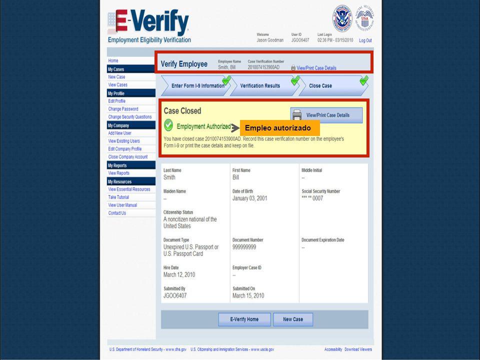Octubre de 2010E-Verify28 Empleo autorizado