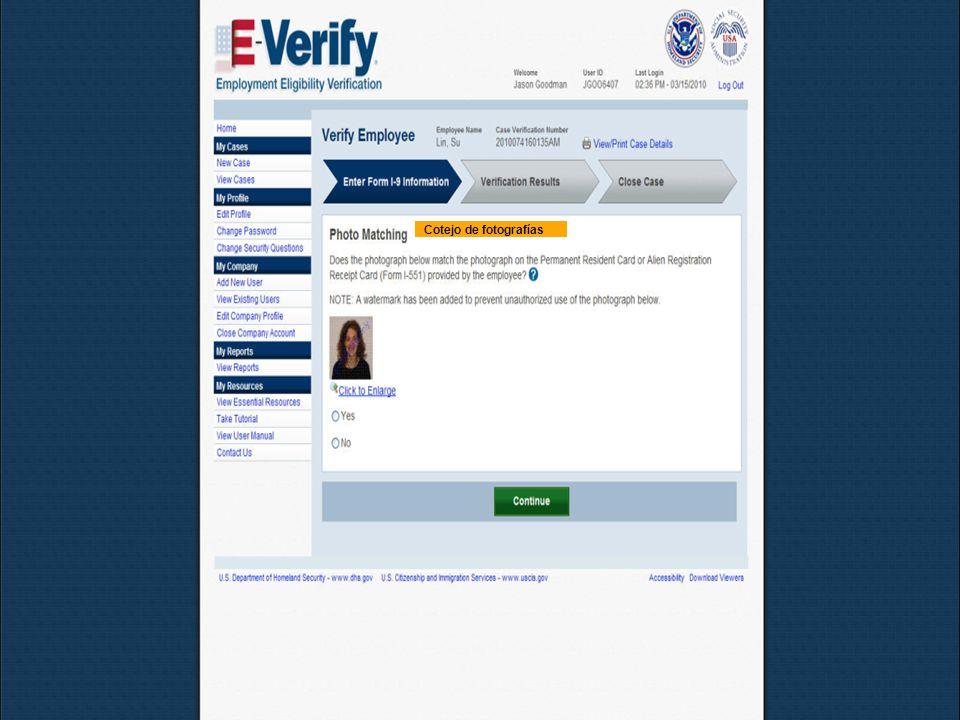 Mayo de 2011E-Verify30 Cotejo de fotografías
