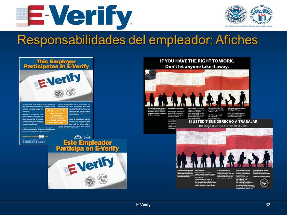 E-Verify32 Responsabilidades del empleador: Afiches
