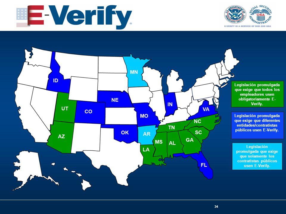 34 Legislación promulgada que exige que todos los empleadores usen obligatoriamente E- Verify.