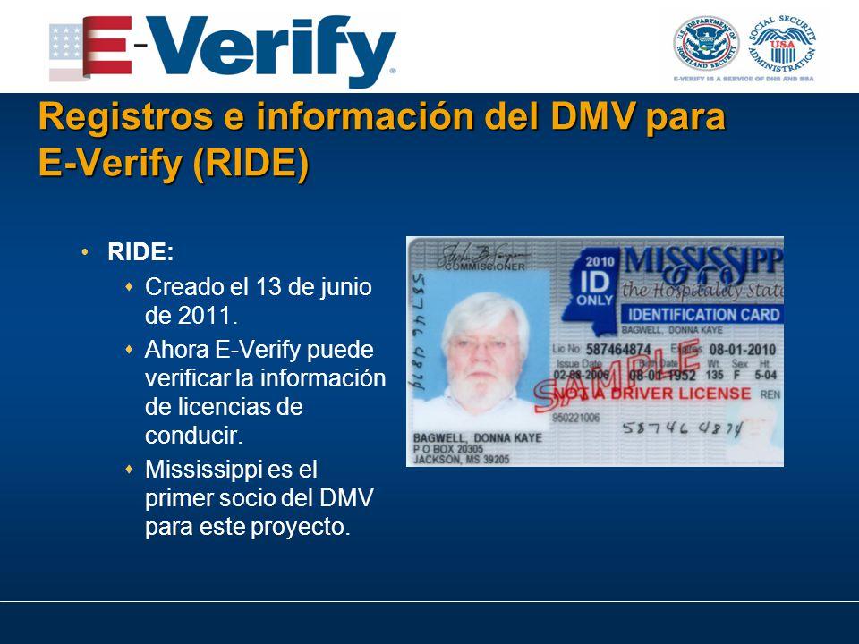 Registros e información del DMV para E ‑ Verify (RIDE) RIDE:  Creado el 13 de junio de 2011.