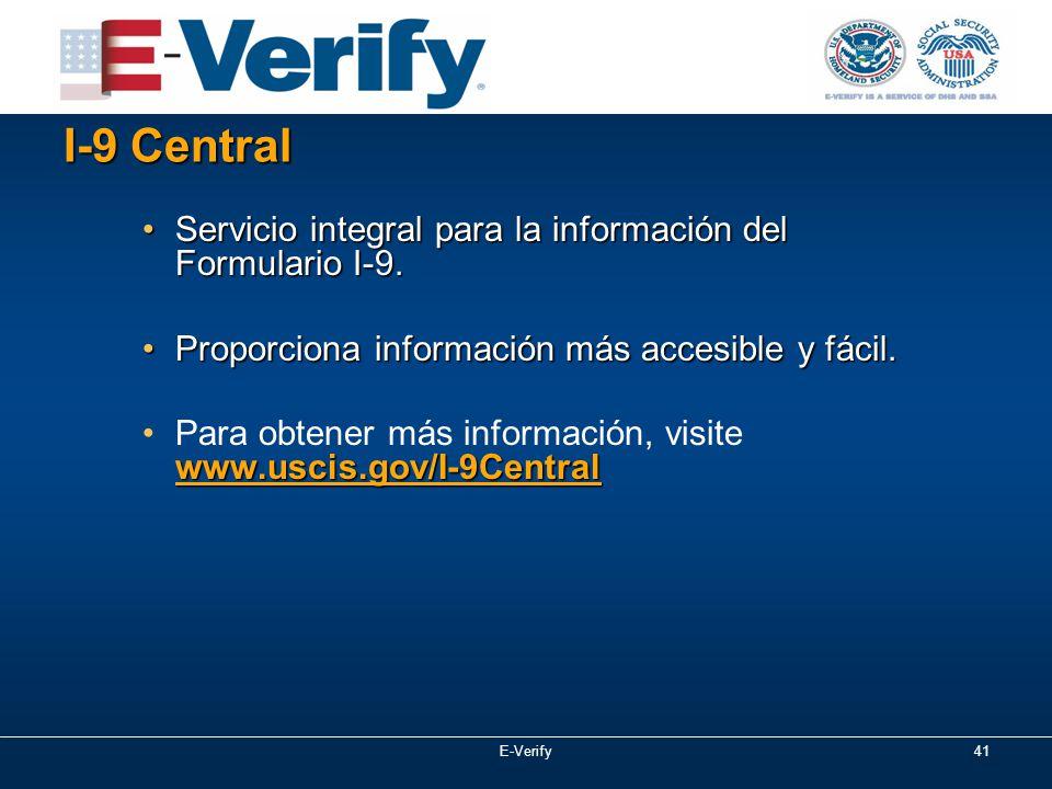 I-9 Central Servicio integral para la información del Formulario I-9.Servicio integral para la información del Formulario I-9.