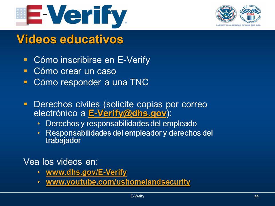 44 Videos educativos  Cómo inscribirse en E-Verify  Cómo crear un caso  Cómo responder a una TNC E-Verify@dhs.gov  Derechos civiles (solicite copias por correo electrónico a E-Verify@dhs.gov): Derechos y responsabilidades del empleado Responsabilidades del empleador y derechos del trabajador Vea los videos en: www.dhs.gov/E-Verifywww.dhs.gov/E-Verify www.youtube.com/ushomelandsecuritywww.youtube.com/ushomelandsecurity