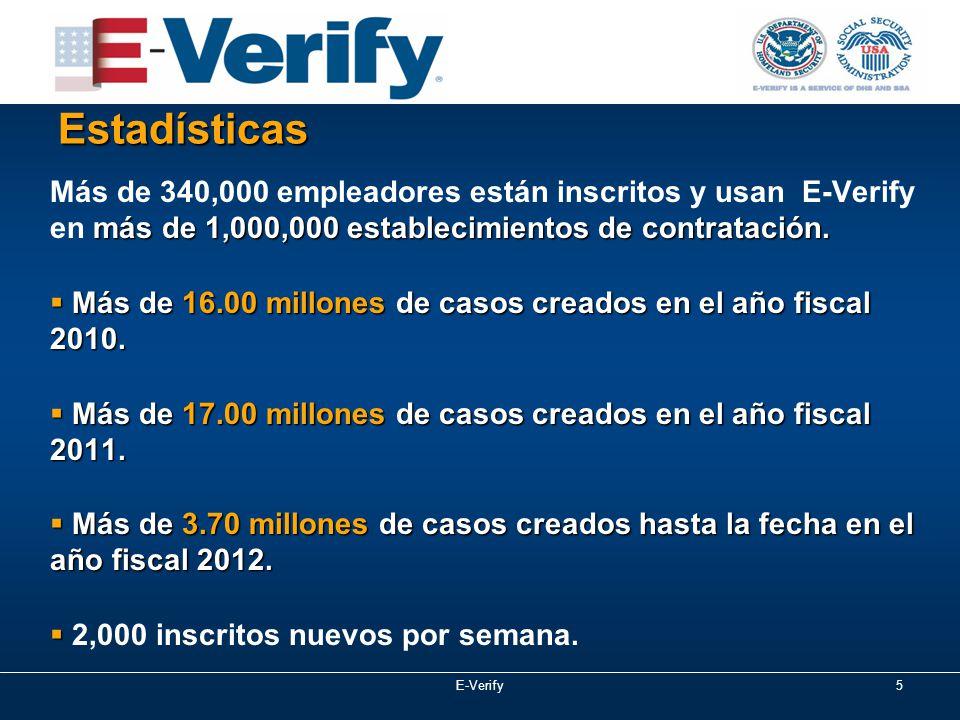 E-Verify5 Estadísticas más de 1,000,000 establecimientos de contratación.