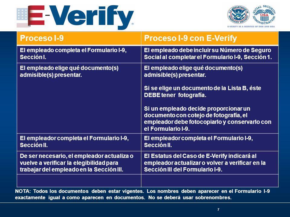 7 Proceso I-9Proceso I-9 con E-Verify El empleado completa el Formulario I-9, Sección I.