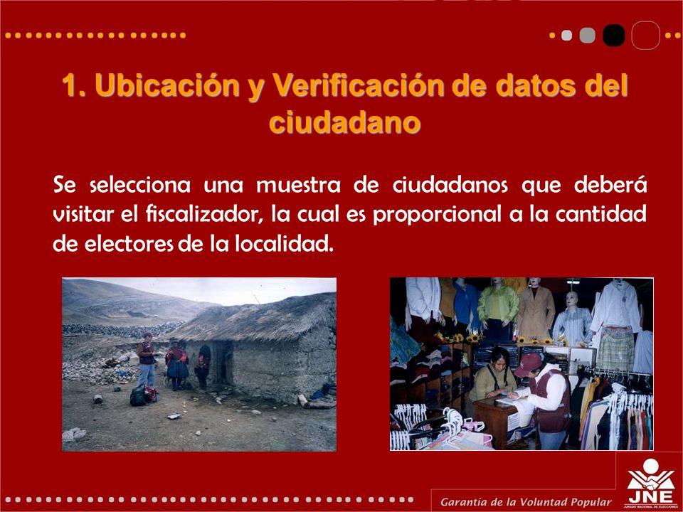 Se selecciona una muestra de ciudadanos que deberá visitar el fiscalizador, la cual es proporcional a la cantidad de electores de la localidad.