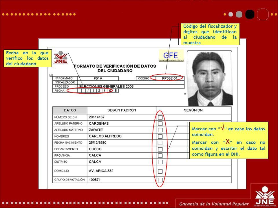 Formato F01A: Código del fiscalizador y dígitos que identifican al ciudadano de la muestra Fecha en la que verifico los datos del ciudadano Marcar con  en caso los datos coincidan.