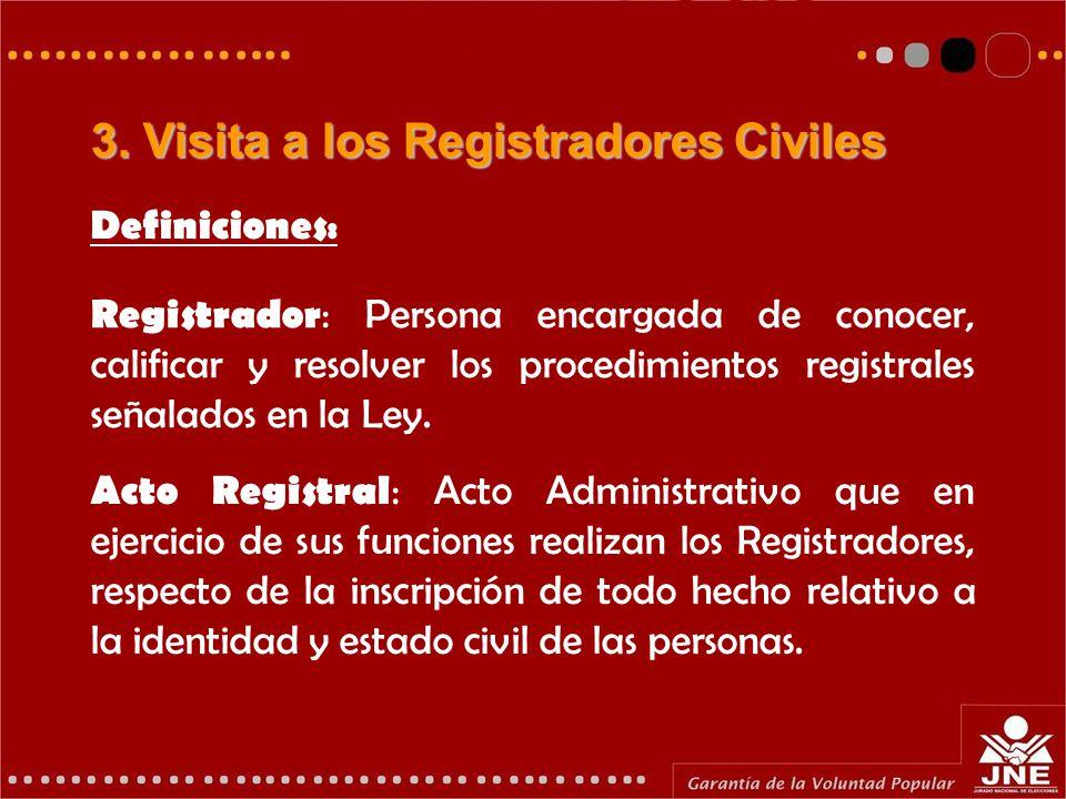 Registrador : Persona encargada de conocer, calificar y resolver los procedimientos registrales señalados en la Ley.