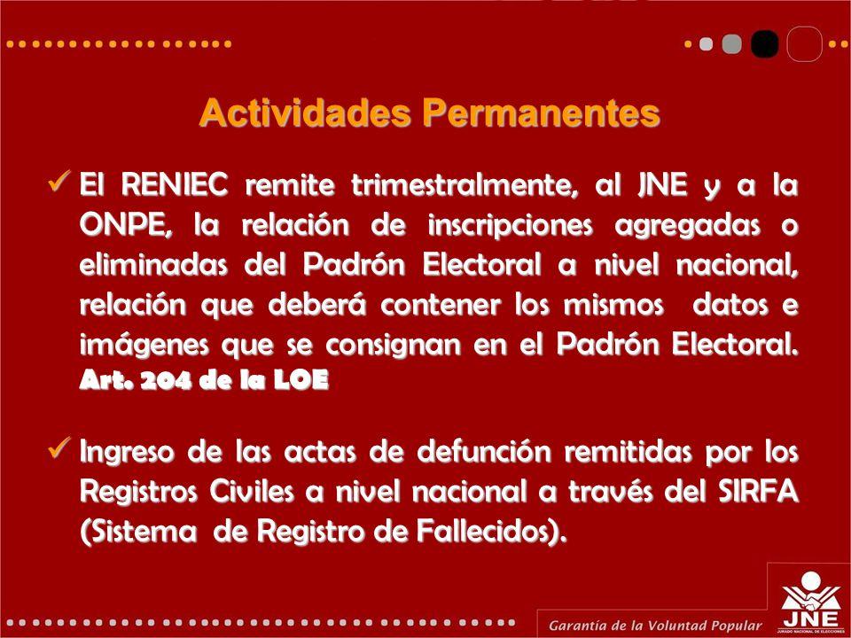 Actividades Permanentes El RENIEC remite trimestralmente, al JNE y a la ONPE, la relación de inscripciones agregadas o eliminadas del Padrón Electoral a nivel nacional, relación que deberá contener los mismos datos e imágenes que se consignan en el Padrón Electoral.