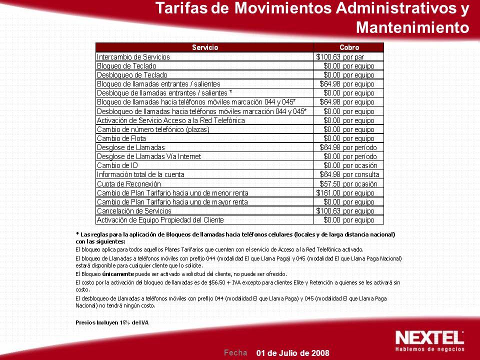 Fecha Tarifas de Movimientos Administrativos y Mantenimiento 01 de Julio de 2008