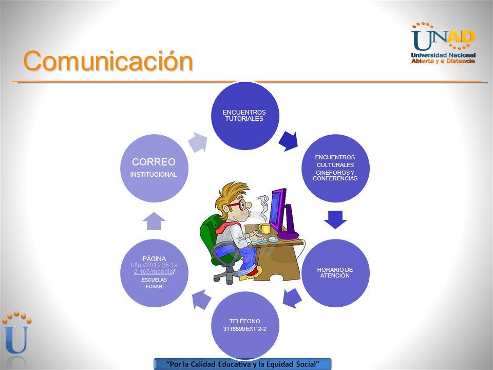 Comunicación ENCUENTROS TUTORIALES ENCUENTROS CULTURALES CINEFOROS Y CONFERENCIAS HORARIO DE ATENCIÓN TELÉFONO 3116599 EXT 2-2 PÁGINA http://201.236.19 2.166/moodle/ http://201.236.19 2.166/moodle ESCUELAS ECSAH CORREO INSTITUCIONAL