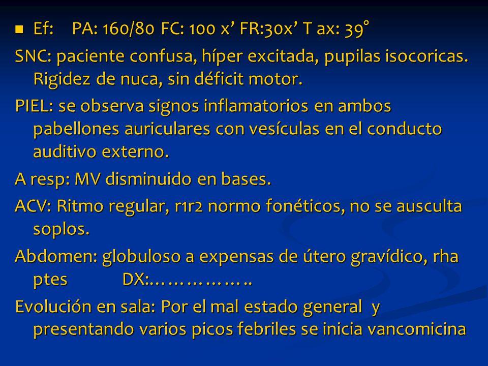 Ef: PA: 160/80 FC: 100 x' FR:30x' T ax: 39° Ef: PA: 160/80 FC: 100 x' FR:30x' T ax: 39° SNC: paciente confusa, híper excitada, pupilas isocoricas.