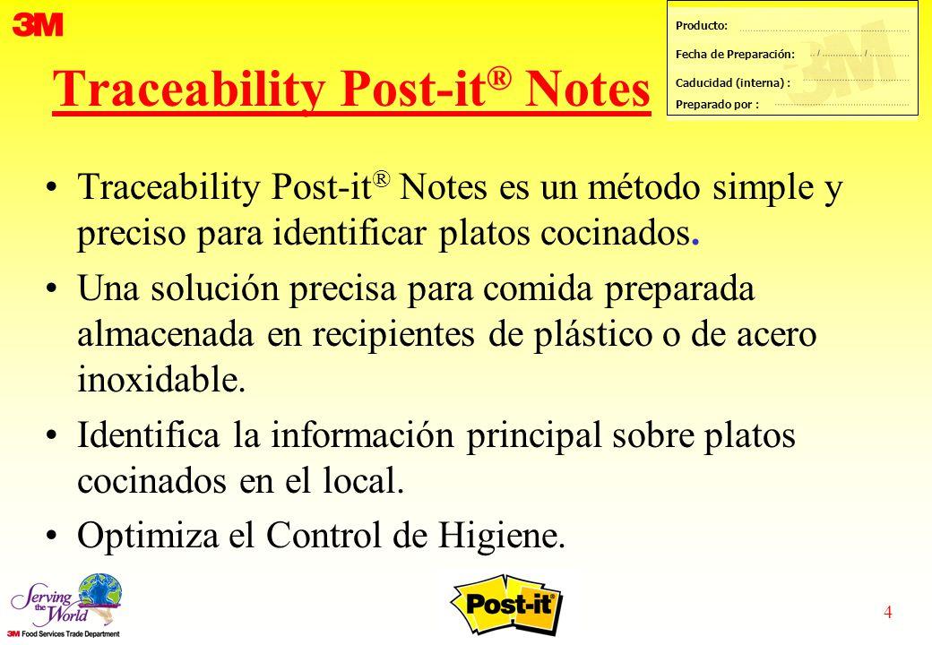 4 Producto: Fecha de Preparación: Caducidad (interna) : Preparado por : Traceability Post-it ® Notes Traceability Post-it ® Notes es un método simple y preciso para identificar platos cocinados.