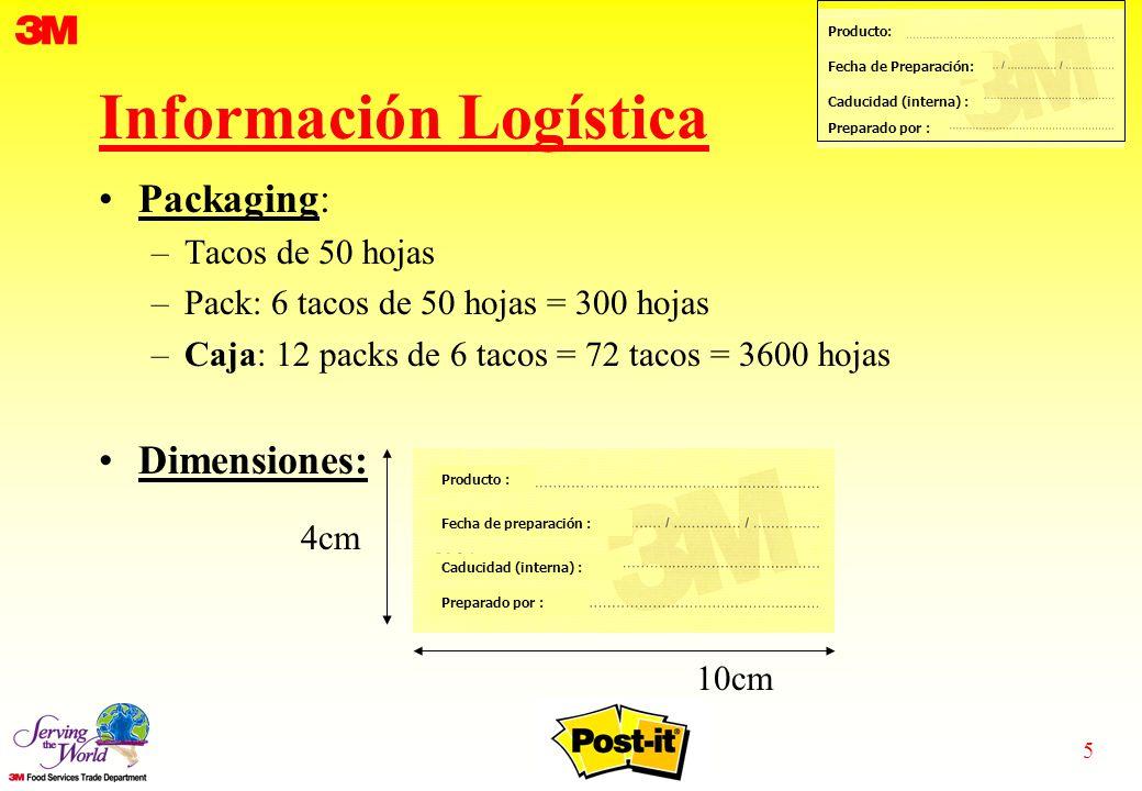 5 Producto: Fecha de Preparación: Caducidad (interna) : Preparado por : Información Logística Packaging: –Tacos de 50 hojas –Pack: 6 tacos de 50 hojas = 300 hojas –Caja: 12 packs de 6 tacos = 72 tacos = 3600 hojas Dimensiones: Producto : Fecha de preparación : Caducidad (interna) : Preparado por : 4cm 10cm