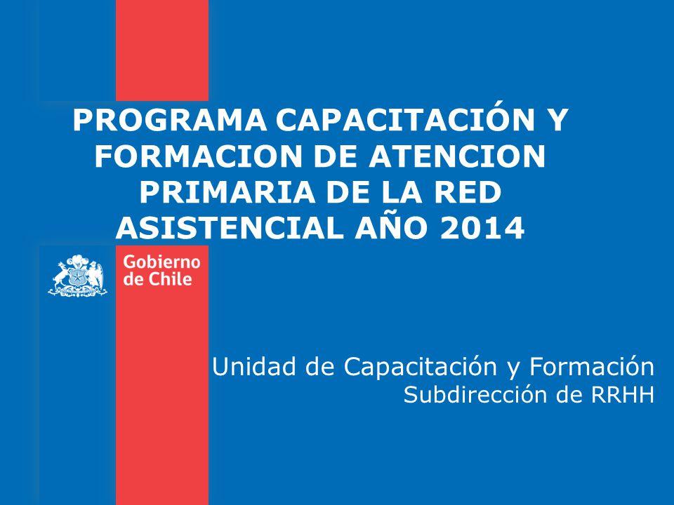 PROGRAMA CAPACITACIÓN Y FORMACION DE ATENCION PRIMARIA DE LA RED ASISTENCIAL AÑO 2014 Unidad de Capacitación y Formación Subdirección de RRHH