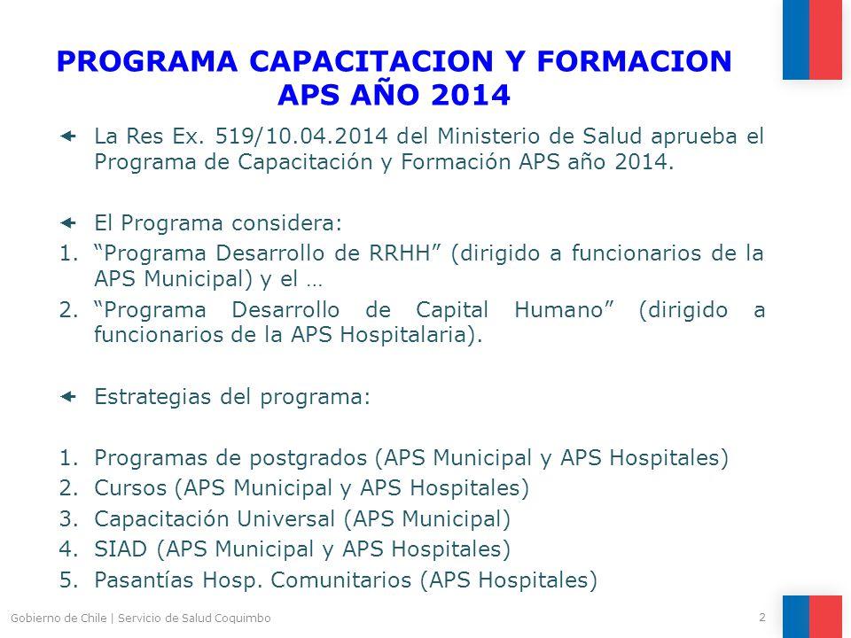 PROGRAMA CAPACITACION Y FORMACION APS AÑO 2014  La Res Ex.