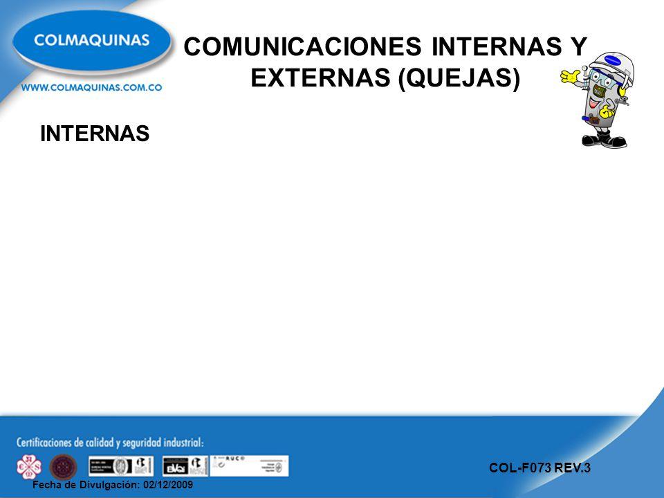 Fecha de Divulgación: 02/12/2009 COL-F073 REV.3 COMUNICACIONES INTERNAS Y EXTERNAS (QUEJAS) INTERNAS