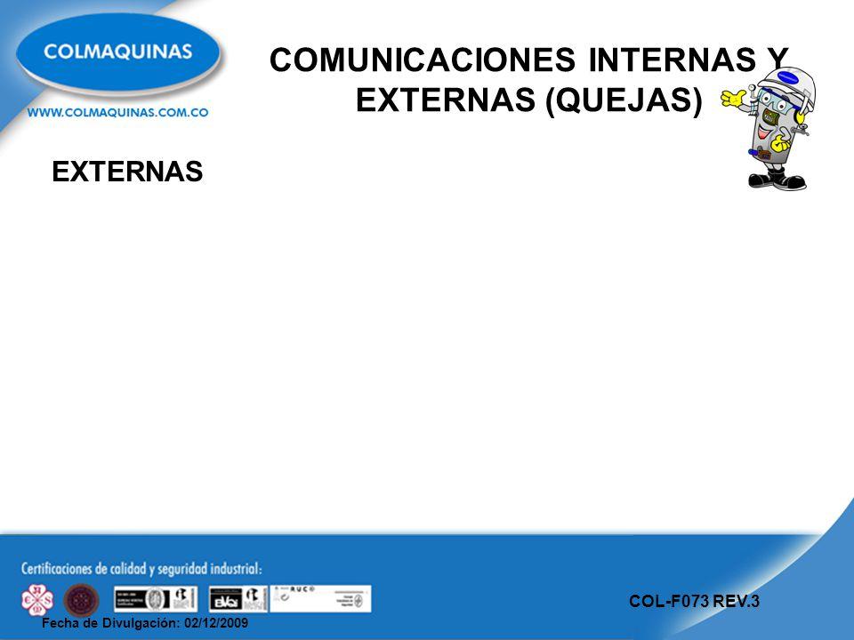 Fecha de Divulgación: 02/12/2009 COL-F073 REV.3 COMUNICACIONES INTERNAS Y EXTERNAS (QUEJAS) EXTERNAS