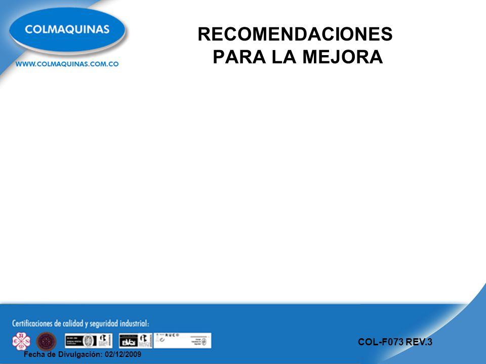Fecha de Divulgación: 02/12/2009 COL-F073 REV.3 RECOMENDACIONES PARA LA MEJORA
