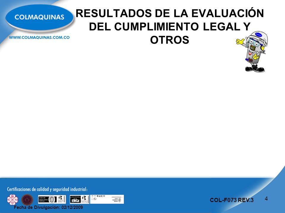 Fecha de Divulgación: 02/12/2009 COL-F073 REV.3 RESULTADOS DE LA EVALUACIÓN DEL CUMPLIMIENTO LEGAL Y OTROS 4