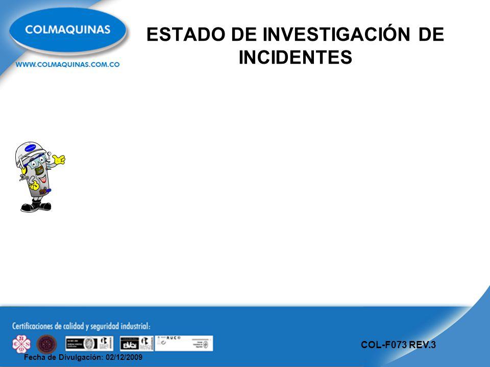 Fecha de Divulgación: 02/12/2009 COL-F073 REV.3 ESTADO DE INVESTIGACIÓN DE INCIDENTES