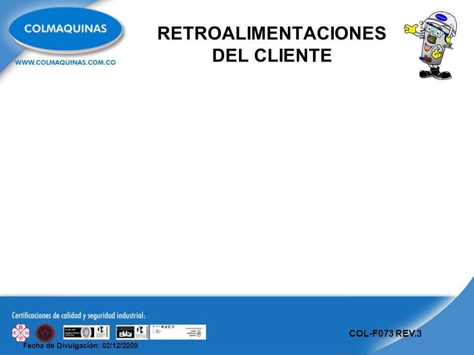 Fecha de Divulgación: 02/12/2009 COL-F073 REV.3 RETROALIMENTACIONES DEL CLIENTE