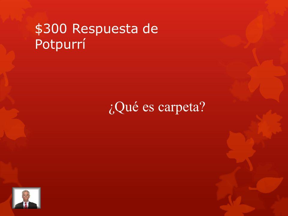 $300 Pregunta de Potpurrí Folder en español.