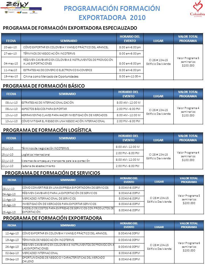 PROGRAMACIÓN FORMACIÓN EXPORTADORA 2010 PROGRAMA DE FORMACIÓN EXPORTADORA ESPECIALIZADO FECHASEMINARIO HORARIO DEL EVENTOLUGAR VALOR TOTAL PROGRAMA 20-abr-10CÓMO EXPORTAR EN COLOMBIA Y MANEJO PRÁCTICO DEL ARANCEL8:00 am-6:00 pm Cl 28 # 13A-15 Edificio Davivienda Valor Programa 5 seminarios $200.000 27-abr-10TÉRMINOS DE NEGOCIACIÓN INCOTERMS8:00 am-6:00 pm 04-may-10 RÉGIMEN CAMBIARIO EN COLOMBIA E INSTRUMENTOS DE PROMOCIÓN A LAS EXPORTACIONES8:00 am-6:00 pm 11-may10ESTRATEGIAS DE COMERCIO ELECTRONICO E-COMERCE8:00 am-6:00 pm 19-may-10 China como Mercado de Oportunidades 8:00 am-12:00 m PROGRAMA DE FORMACIÓN BÁSICO FECHASEMINARIO HORARIO DEL EVENTO LUGAR VALOR TOTAL PROGRAMA 08-Jul-10ESTRATEGIAS DE INTERNACIONALIZACIÓN8:00 AM - 12:00 M Cl 28 # 13A-15 Edificio Davivienda Valor Programa 4 seminarios $100.000 08-Jul-10ASPECTOS BÁSICOS PARA EXPORTAR2:00 PM - 6:00 PM 13-Jul-10HERRAMIENTAS CLAVES PARA HACER INVESTIGACIÓN DE MERCADOS8:00 AM - 12:00 M 13-Jul-10CÓMO MITIGAR EL RIESGO EN UNA NEGOCIACIÓN INTERNACIONAL2:00 PM - 6:00 PM PROGRAMA DE FORMACIÓN EXPORTADORA FECHASEMINARIO HORARIO DEL EVENTOLUGAR VALOR TOTAL PROGRAMA 12-Ago-10CÓMO EXPORTAR EN COLOMBIA Y MANEJO PRÁCTICO DEL ARANCEL8:00AM-6:00PM Cl 28 # 13A-15 Edificio Davivienda Valor Programa 6 seminarios $200.000 19-Ago-10TÉRMINOS DE NEGOCIACIÓN INCOTERMS8:00AM-6:00PM 26-Ago-10 RÉGIMEN CAMBIARIO EN COLOMBIA E INSTRUMENTOS DE PROMOCIÓN A LAS EXPORTACIONES 8:00AM-6:00PM 02-Sep-10MERCADEO INTERNACIONAL8:00AM-6:00PM 09-Sep-10 OPORTUNIDADES DE NEGOCIO Y CARACTERÍSTICAS DEL MERCADO CHILENO 8:00AM-6:00PM FECHASEMINARIO HORARIO DEL EVENTOLUGAR VALOR TOTAL PROGRAMA 15-jul-10T é rminos de negociaci ó n INCOTERMS 8:00 AM - 12:00 M Cl 28 # 13A-15 Edificio Davivienda Valor Programa 4 seminarios $100.000 15-jul-10Log í stica internacional 2:00 PM - 6:00 PM 22-jul-10Sistemas de empaque y transporte para la exportaci ó n 8:00 AM - 12:00 M 22-jul-10Cadena de abastecimiento2:00 PM - 6:00 PM PROGRAMA DE FORMACIÓN LOGÍSTICA PROGRAMA DE F