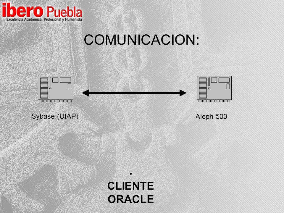 Sybase (UIAP) Aleph 500 CLIENTE ORACLE COMUNICACION: