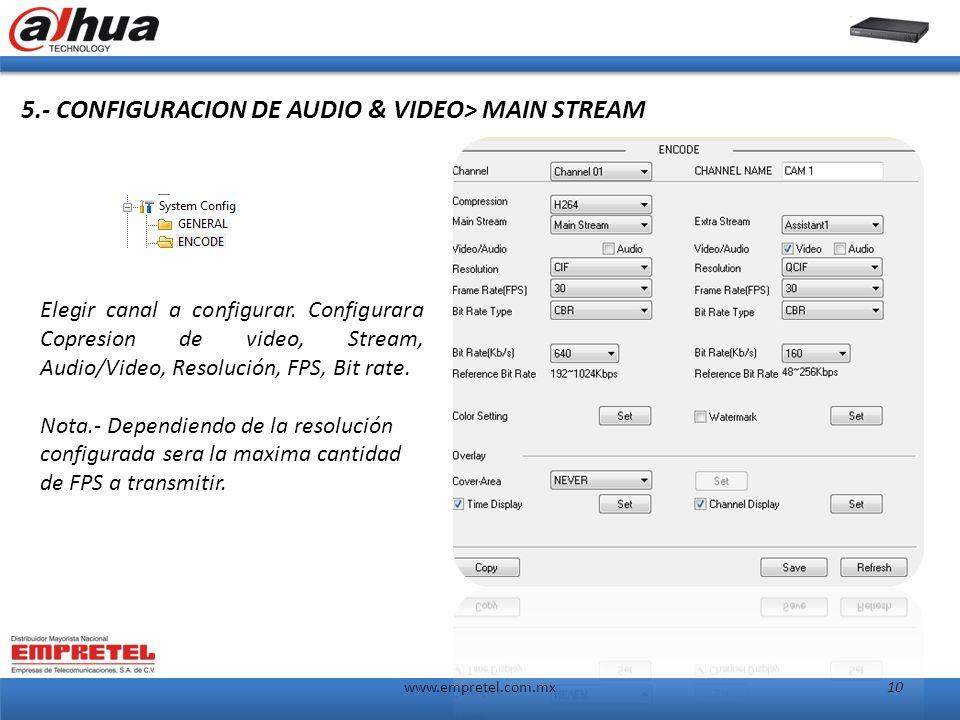 www.empretel.com.mx10 5.- CONFIGURACION DE AUDIO & VIDEO> MAIN STREAM Elegir canal a configurar.