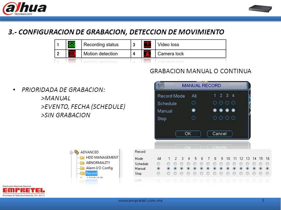 5www.empretel.com.mx 3.- CONFIGURACION DE GRABACION, DETECCION DE MOVIMIENTO GRABACION MANUAL O CONTINUA PRIORIDADA DE GRABACION: >MANUAL >EVENTO, FECHA (SCHEDULE) >SIN GRABACION
