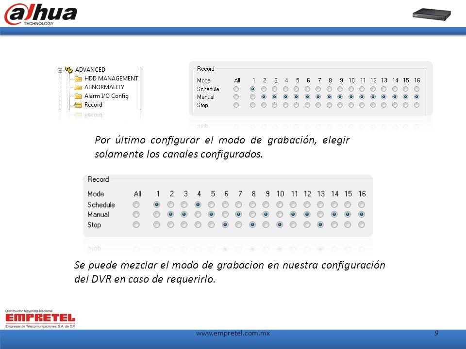 www.empretel.com.mx9 Por último configurar el modo de grabación, elegir solamente los canales configurados.