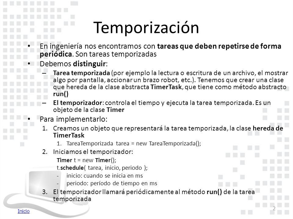 Inicio Temporización En ingeniería nos encontramos con tareas que deben repetirse de forma periódica.