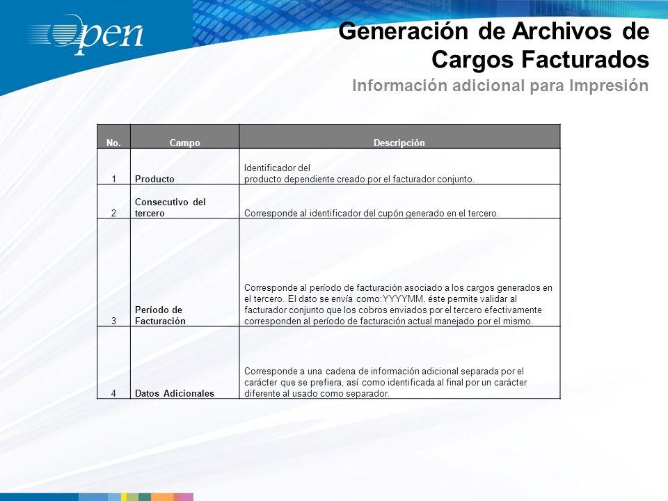 Información adicional para Impresión Generación de Archivos de Cargos Facturados No.CampoDescripción 1Producto Identificador del producto dependiente creado por el facturador conjunto.