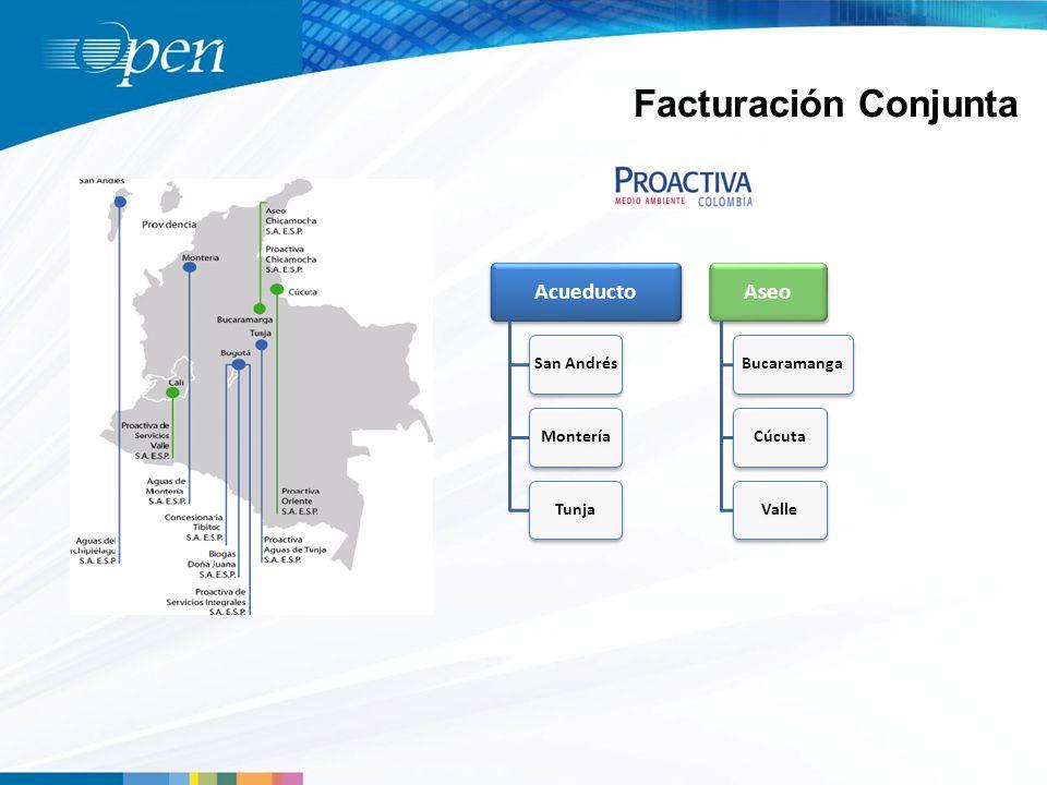 Facturación Conjunta Acueducto San AndrésMonteríaTunja Aseo BucaramangaCúcutaValle