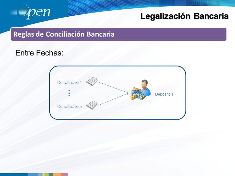 Legalización Bancaria Reglas de Conciliación Bancaria Entre Fechas: Conciliación 1 Depósito 1 … Conciliación n