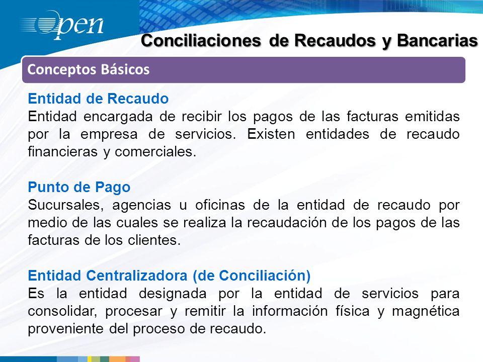 Conciliaciones de Recaudos y Bancarias Conceptos Básicos Entidad de Recaudo Entidad encargada de recibir los pagos de las facturas emitidas por la empresa de servicios.