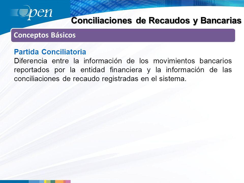 Conciliaciones de Recaudos y Bancarias Conceptos Básicos Partida Conciliatoria Diferencia entre la información de los movimientos bancarios reportados por la entidad financiera y la información de las conciliaciones de recaudo registradas en el sistema.