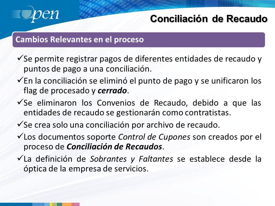 Conciliación de Recaudo Cambios Relevantes en el proceso Se permite registrar pagos de diferentes entidades de recaudo y puntos de pago a una conciliación.