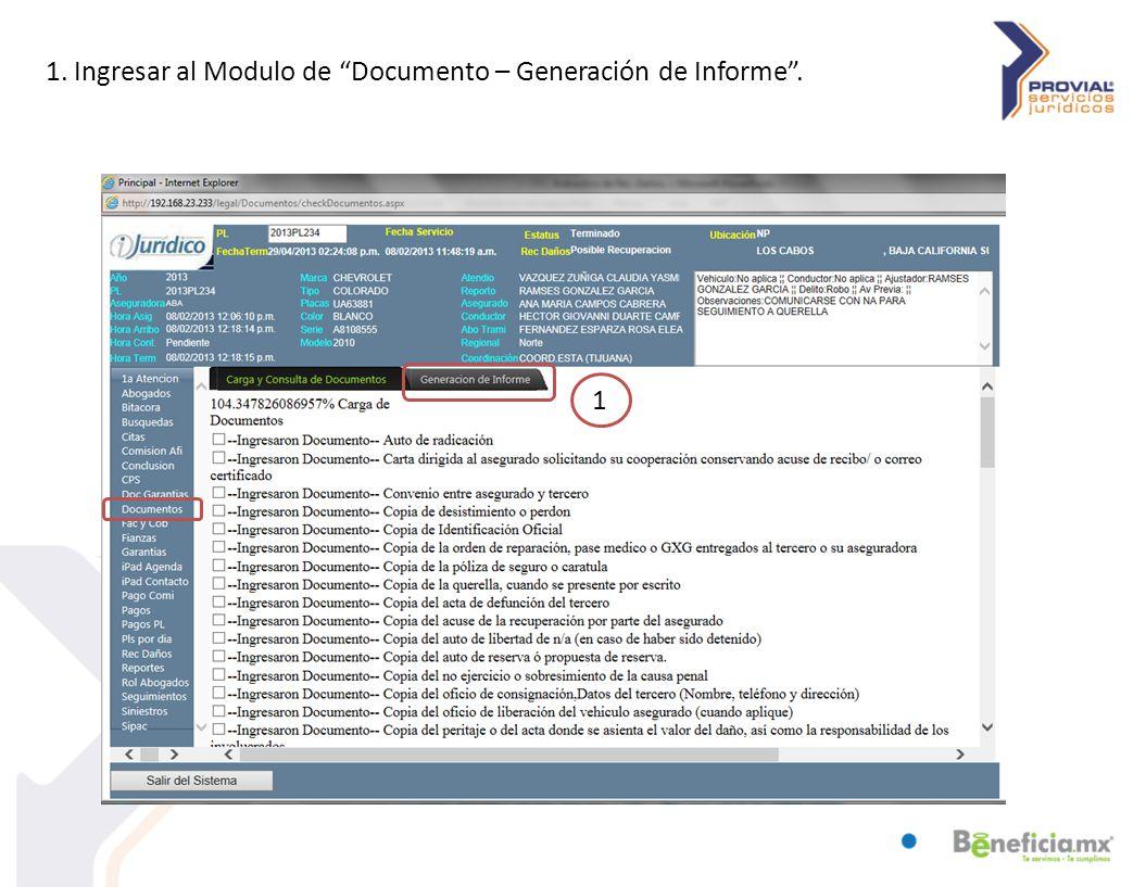1. Ingresar al Modulo de Documento – Generación de Informe . 1