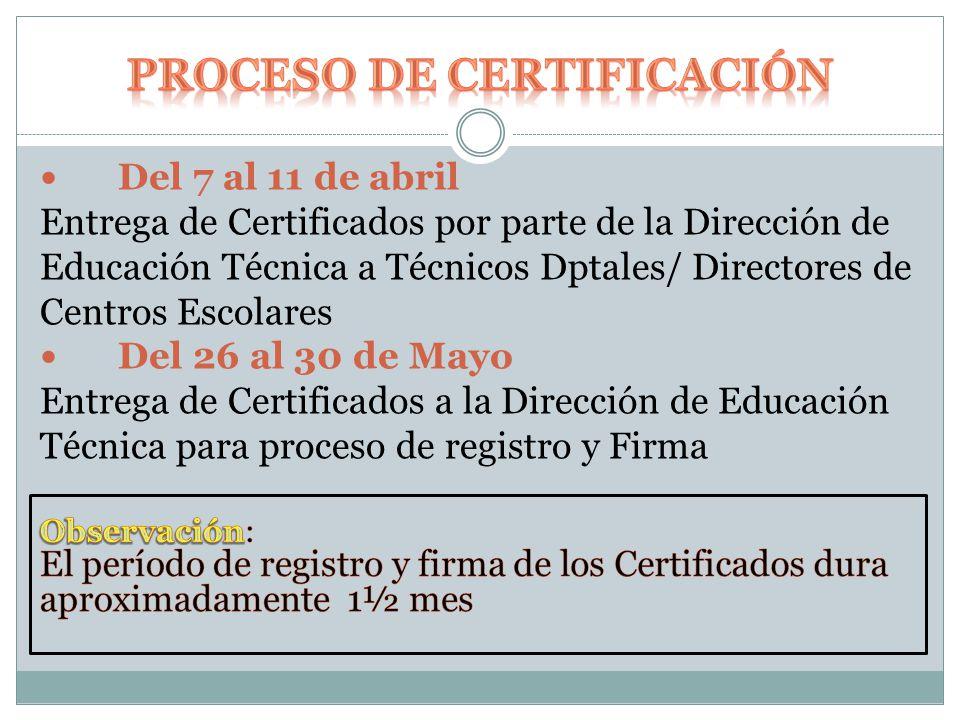 Del 7 al 11 de abril Entrega de Certificados por parte de la Dirección de Educación Técnica a Técnicos Dptales/ Directores de Centros Escolares Del 26 al 30 de Mayo Entrega de Certificados a la Dirección de Educación Técnica para proceso de registro y Firma