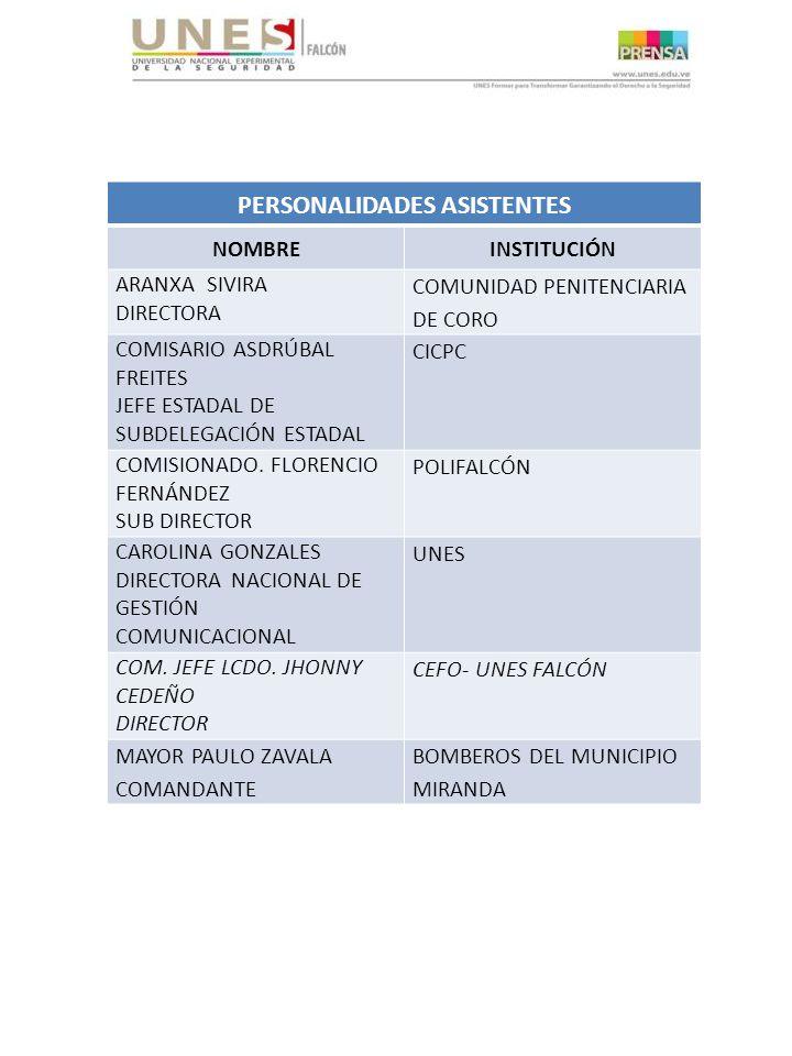 PERSONALIDADES ASISTENTES NOMBREINSTITUCIÓN ARANXA SIVIRA DIRECTORA COMUNIDAD PENITENCIARIA DE CORO COMISARIO ASDRÚBAL FREITES JEFE ESTADAL DE SUBDELEGACIÓN ESTADAL CICPC COMISIONADO.