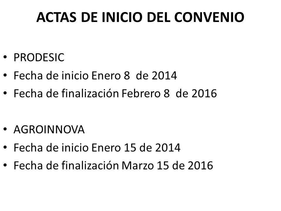 ACTAS DE INICIO DEL CONVENIO PRODESIC Fecha de inicio Enero 8 de 2014 Fecha de finalización Febrero 8 de 2016 AGROINNOVA Fecha de inicio Enero 15 de 2014 Fecha de finalización Marzo 15 de 2016