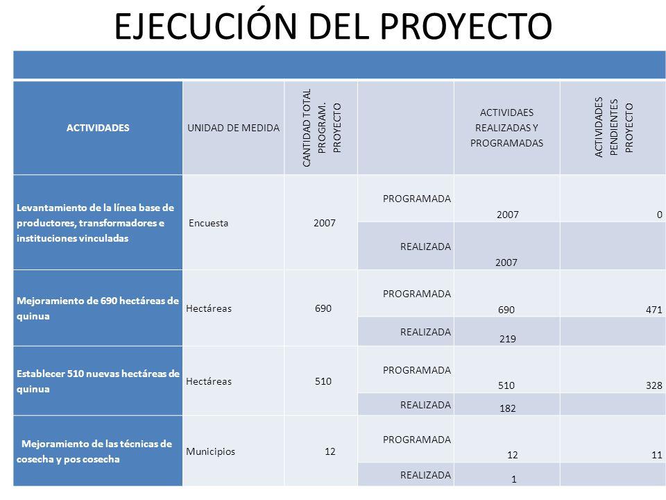 EJECUCIÓN DEL PROYECTO ACTIVIDADESUNIDAD DE MEDIDA CANTIDAD TOTAL PROGRAM.