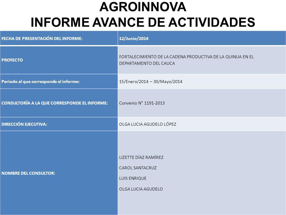 FECHA DE PRESENTACIÓN DEL INFORME:12/Junio/2014 PROYECTO FORTALECIMIENTO DE LA CADENA PRODUCTIVA DE LA QUINUA EN EL DEPARTAMENTO DEL CAUCA Periodo al que corresponde el informe:15/Enero/2014 – 30/Mayo/2014 CONSULTORÍA A LA QUE CORRESPONDE EL INFORME:Convenio N° 1191-2013 DIRECCIÓN EJECUTIVA:OLGA LUCIA AGUDELO LÓPEZ NOMBRE DEL CONSULTOR: LIZETTE DÍAZ RAMÍREZ CAROL SANTACRUZ LUIS ENRIQUE OLGA LUCIA AGUDELO AGROINNOVA INFORME AVANCE DE ACTIVIDADES