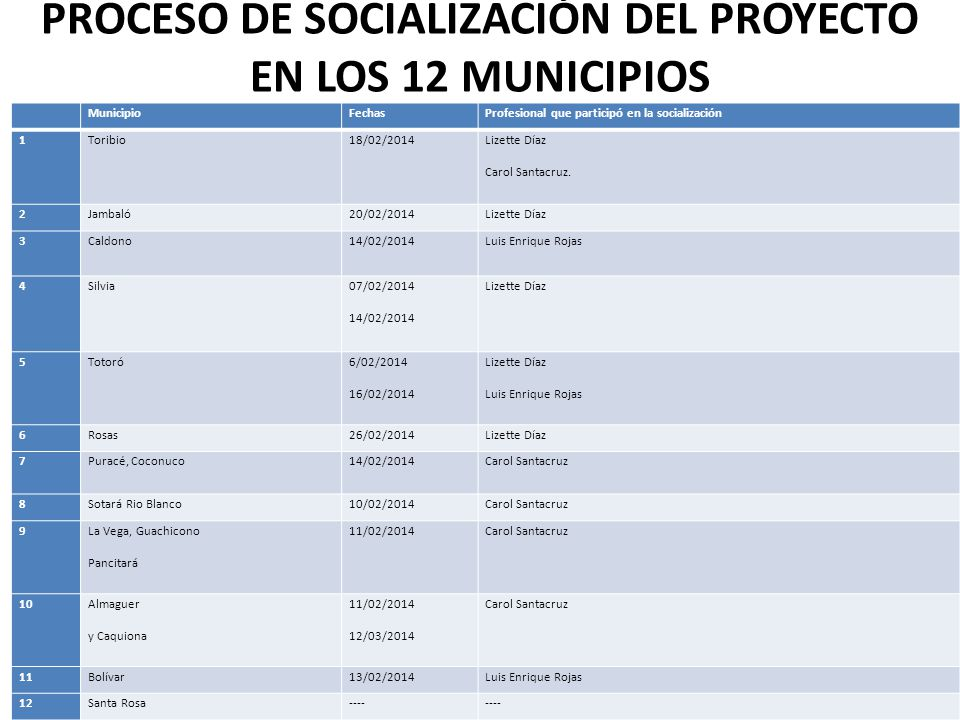 PROCESO DE SOCIALIZACIÓN DEL PROYECTO EN LOS 12 MUNICIPIOS MunicipioFechasProfesional que participó en la socialización 1Toribio18/02/2014 Lizette Díaz Carol Santacruz.