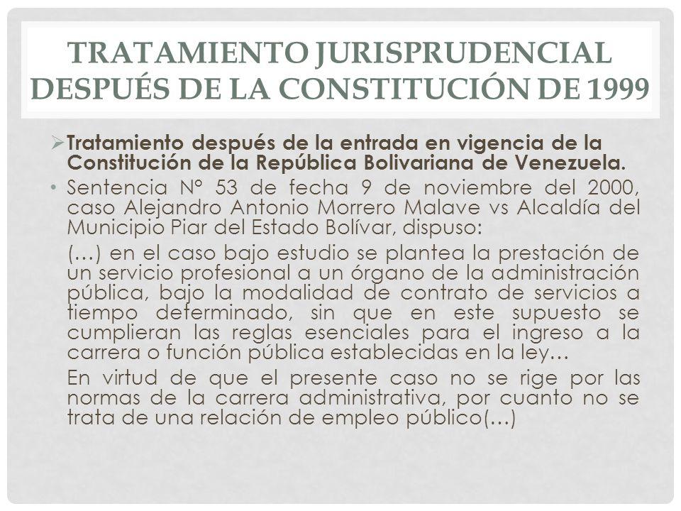 TRATAMIENTO JURISPRUDENCIAL DESPUÉS DE LA CONSTITUCIÓN DE 1999  Tratamiento después de la entrada en vigencia de la Constitución de la República Bolivariana de Venezuela.