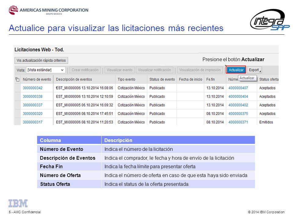© 2014 IBM Corporation5 - AMC Confidencial Actualice para visualizar las licitaciones más recientes ColumnaDescripción Número de EventoIndica el número de la licitación Descripción de EventosIndica el comprador, le fecha y hora de envío de la licitación Fecha FinIndica la fecha límite para presentar oferta Número de OfertaIndica el número de oferta en caso de que esta haya sido enviada Status OfertaIndica el status de la oferta presentada Presione el botón Actualizar
